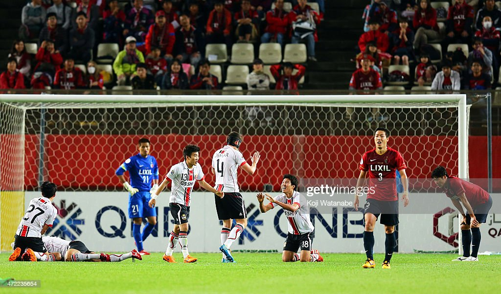Molina Uribe #11 with team-mates of FC Seoul celebrates scoring a final third goal during the AFC Champions League Group H match between Kashima Antlers and FC Seoul at Kashima Stadium on May 5, 2015 in Kashima, Japan.