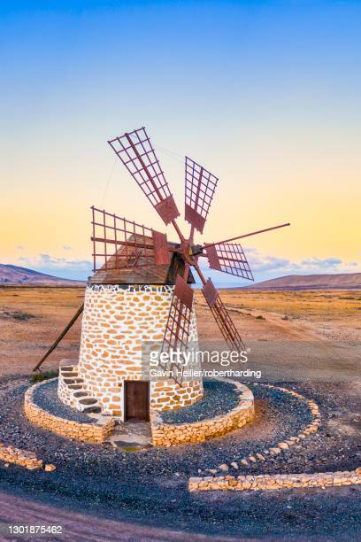 molino de tefia, traditional windmill in tefia, fuerteventura, canary islands, spain, atlantic, europe - gavin hellier stock pictures, royalty-free photos & images