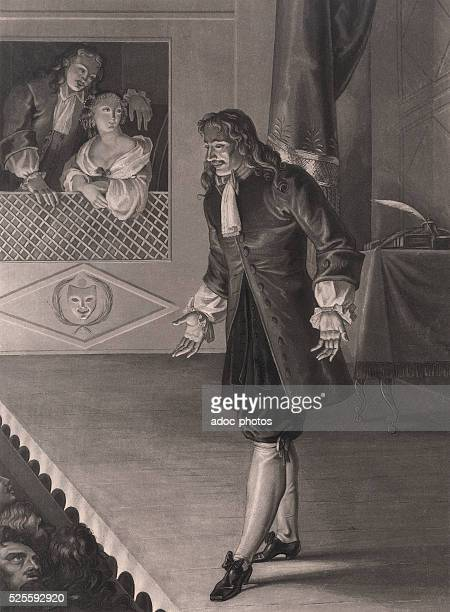 Moli��re announcing the defense of Tartuffe Aquatint by LouisFran��ois Charon after Fran��ois Bouchot