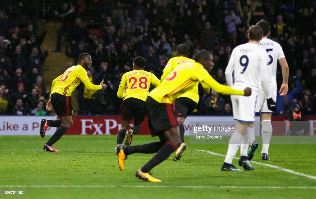 Molla Wague of Watford celebrates scoring his team's opening goal during the Premier League match between Watford and Leicester City at Vicarage Road on December 26, 2017 in Watford, England.