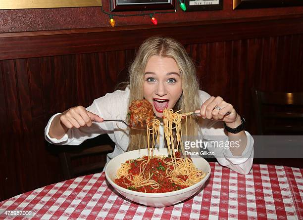 Mollee Gray promotes her Disney Channel movie Teen Beach Movie 2 and Lifetime TV movie Double Daddy at Buca di Beppo Times Square on June 4 2015 in...
