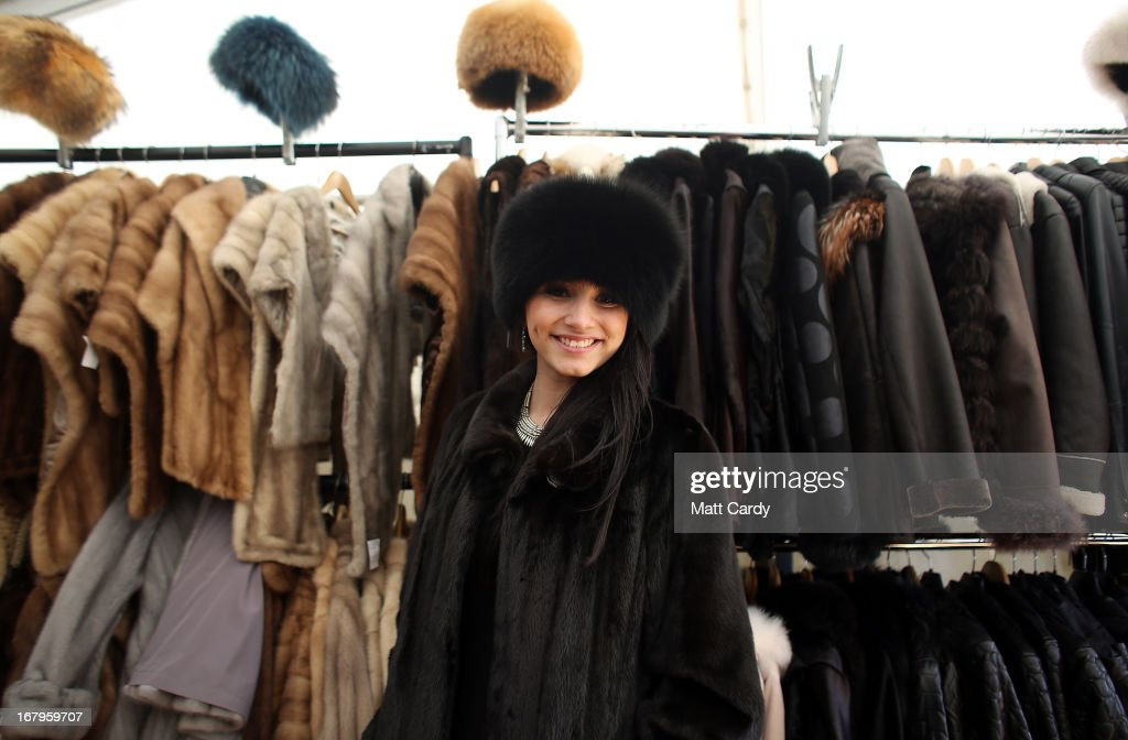 Mollie Britcher-Harris models a full length dark natural mink fur coat for sale for 5800 GDP reduced from 9000 GDP for sale on the Devon Clothing stall on the second day of the Mitsubishi sponsored event on May 3, 2013 in Badminton, Gloucestershire. The event, which runs until Monday and is held on the Duke of Beaufort's estate, is now in its 22nd year but was cancelled last year due to flooding. It is widely seen by many as one of the highlights in the equestrian eventing calendar.