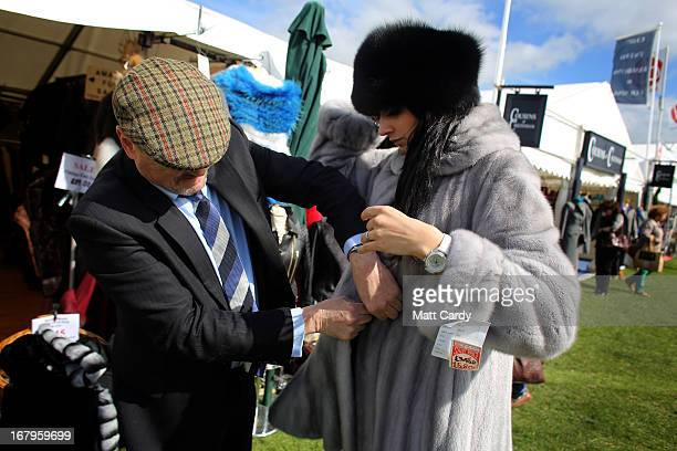 Mollie BritcherHarris models a sapphire mink fur coat for sale for 5800 GDP reduced from 9000 GDP for sale on the Devon Clothing stall on the second...