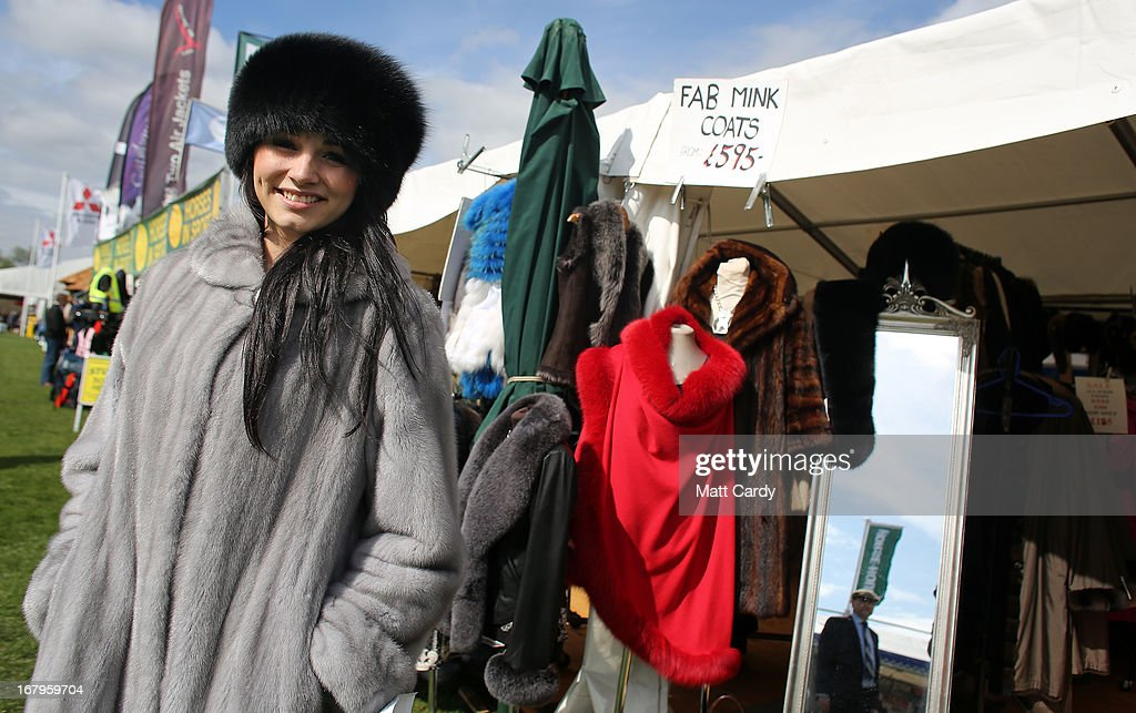 Mollie Britcher-Harris models a sapphire mink fur coat for sale for 5800 GDP reduced from 9000 GDP for sale on the Devon Clothing stall on the second day of the Mitsubishi sponsored event on May 3, 2013 in Badminton, Gloucestershire. The event, which runs until Monday and is held on the Duke of Beaufort's estate, is now in its 22nd year but was cancelled last year due to flooding. It is widely seen by many as one of the highlights in the equestrian eventing calendar.
