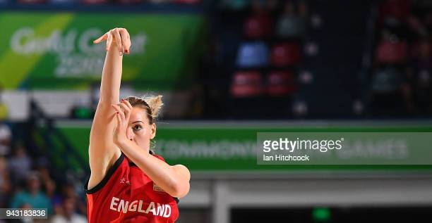 Mollie Campbell of England takes a shot during the Preliminary Basketball round match between Mozambique and England on day four of the Gold Coast...