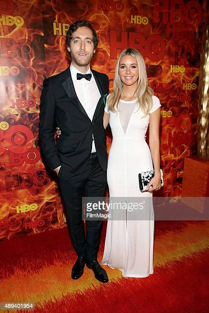 Mollie Gates and actor Thomas Middleditch attend HBO's Official 2015 Emmy After Party at The Plaza at the Pacific Design Center on September 20 2015...