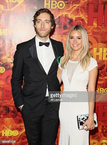 Mollie Gates and Thomas Middleditch attend HBO's Official 2015 Emmy After Party at The Plaza at the Pacific Design Center on September 20 2015 in Los...