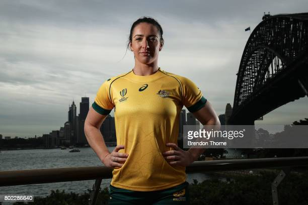 Mollie Gray of Australia poses during the Australian Women's Rugby World Cup Squad Announcement at Milsons Point on June 28, 2017 in Sydney,...