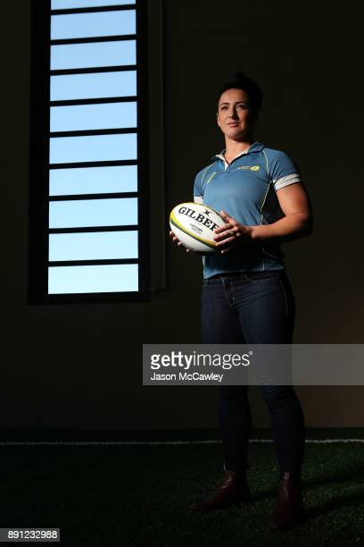 Mollie Gray of the Wallaroos poses after a Rugby Australia press conference at the Rugby Australia Building on December 13 2017 in Sydney Australia