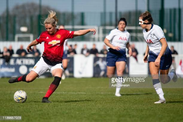 Mollie Green of Manchester United in action during the WSL 2 match between Tottenham Hotspur Women and Manchester United Women on March 31 2019 in...