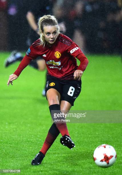 Lizzie Arnot of Manchester United Women celebrates scoring their third goal during the FA Women's Championship match between Manchester United Women...