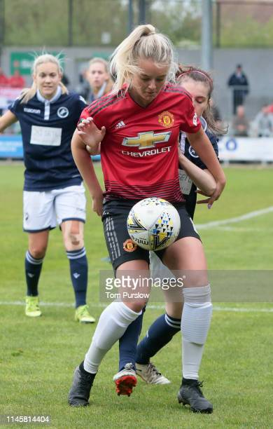 Mollie Green of Manchester United Women in action during the FA Women's Championship match between Manchester United Women and Millwall Lionesses at...
