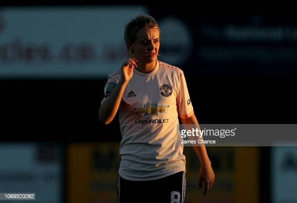 Mollie Green of Manchester United Women looks on during the FA Women's Championship match between Crystal Palace and Manchester United at Hayes Lane...