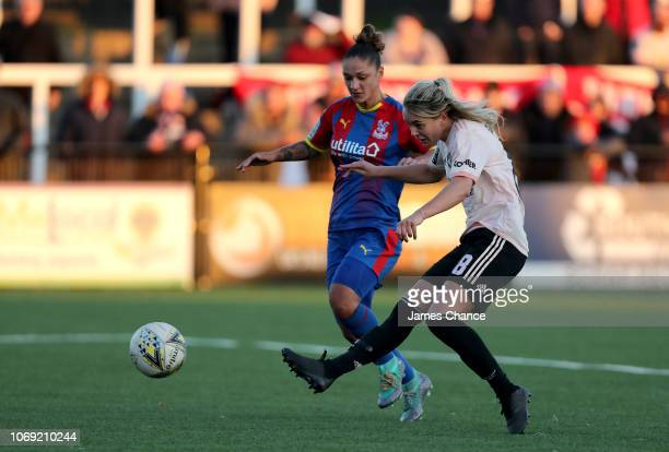 Mollie Green of Manchester United Women scores her team's fifth goal during the FA Women's Championship match between Crystal Palace and Manchester...