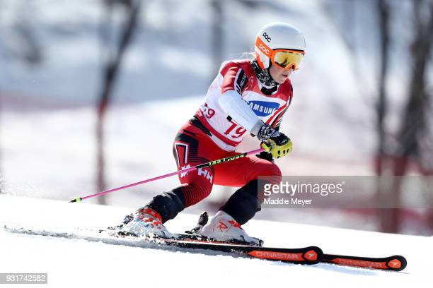 Mollie Jepsen of Canada competes in the Women's Standing Giant Slalom at Jeongseon Alpine Centre on Day 5 of the PyeongChang 2018 Paralympic Games on...