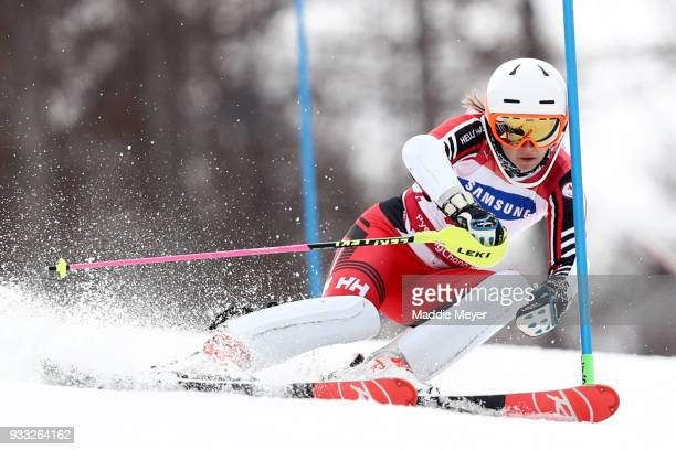 Mollie Jepsen of Canada competes in the Women's Standing Slalom at Jeongseon Alpine Centre on Day 9 of the PyeongChang 2018 Paralympic Games on March...