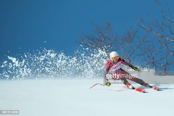 Mollie Jepsen of Canada competes in the Women's Super Combined Visually Impaired Alpine Skiing event at Jeongseon Alpine Centre during day four of...