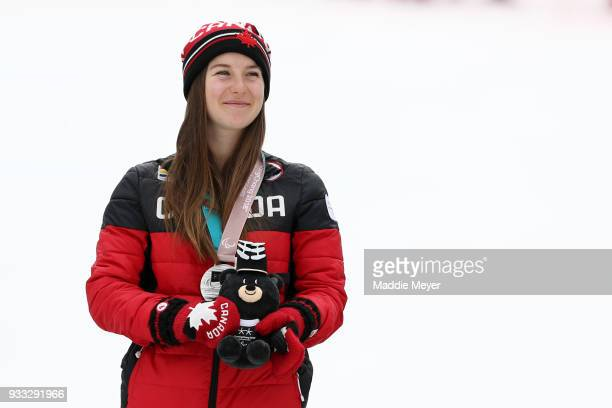 Mollie Jepsen of Canada looks on after receiving her silver medal in the Women's Standing Slalom at Jeongseon Alpine Centre on Day 9 of the...