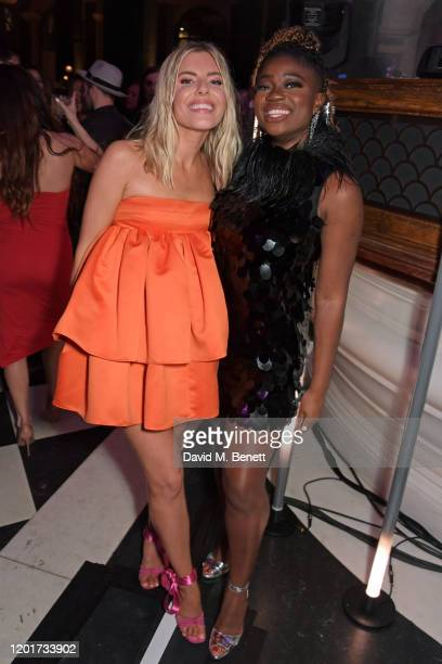 Mollie King and Clara Amfo attend the Universal Music BRIT Awards afterparty 2020 hosted by Soho House PATRON at The Ned on February 18 2020 in...