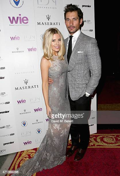 Mollie King and David Gandy arrive at the LDNY show and WIE Award gala sponsored by Maserati at Goldsmith Hall on April 27 2015 in London England