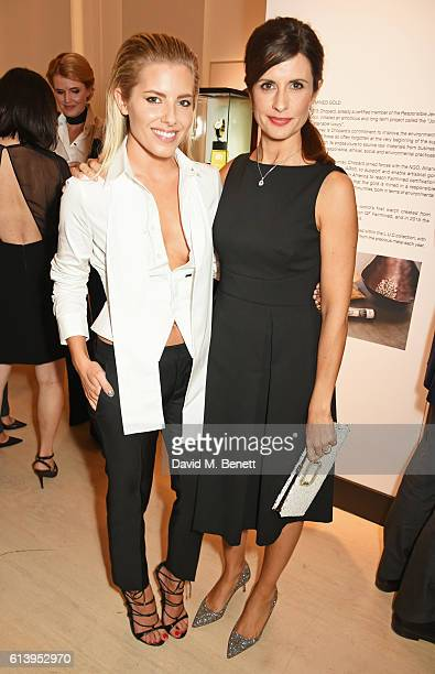 Mollie King and Livia Firth attend the cocktail opening of the Chopard exhibition 'LUC L'art d'une Manufacture' at Phillips Gallery on October 11...