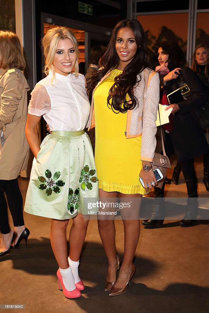 Mollie King and Rochelle Wiseman attend the Issa London show during London Fashion Week Fall/Winter 2013/14 at Somerset House on February 16, 2013 in London, England.