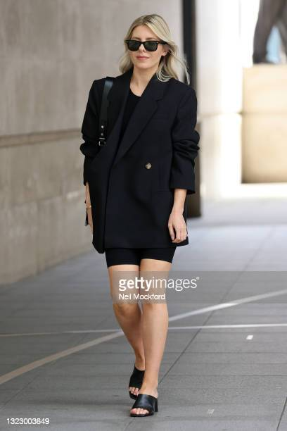 Mollie King arriving at BBC Radio One on June 11, 2021 in London, England.