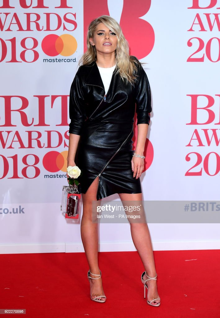 Mollie King attending the Brit Awards at the O2 Arena, London.