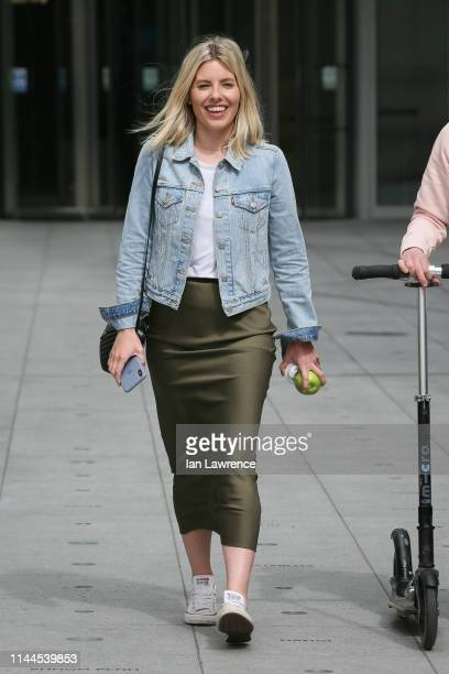 Mollie King leaving BBC Radio One Studios after finishing her Breakfast show on April 23, 2019 in London, England.