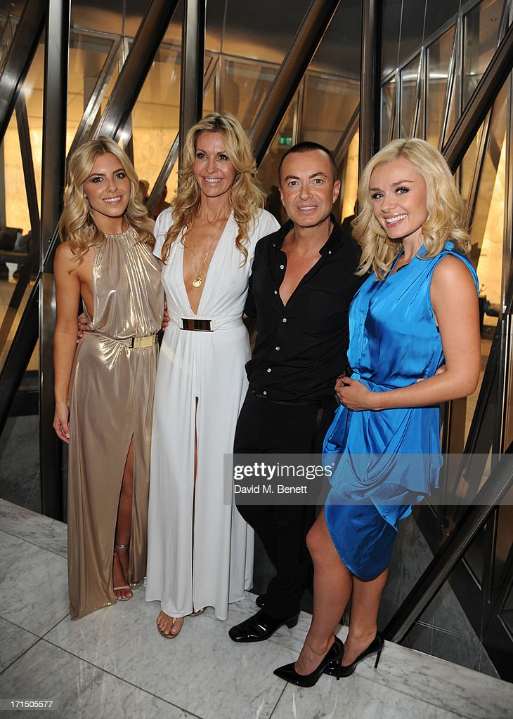 Mollie King, Melissa Odabash, Julien Macdonald and Katherine Jenkins attend the Odabash Macdonald Resort 2014 collection launch at ME Hotel on June 25, 2013 in London, England.
