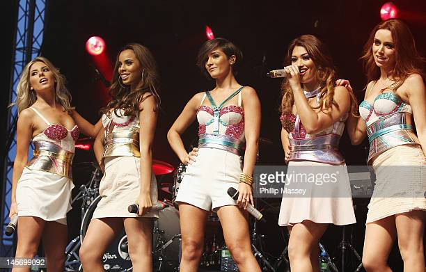 Mollie King Rochelle Wiseman Frankie Sandford Vanessa White and Una Healy of The Saturdays perform at Thurles Greyhound Stadium on June 3 2012 in...