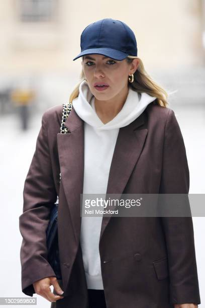 Mollie King seen arriving at BBC Radio One on February 19, 2021 in London, England.