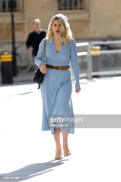 Mollie King seen arriving at BBC Radio One on February 26, 2021 in London, England.