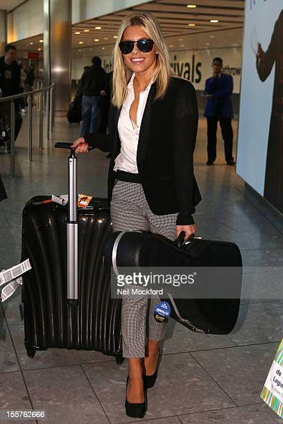 Mollie King seen arriving at Heathrow from Los Angeles on November 8 2012 in London England