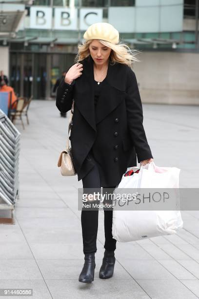 Mollie King sighting outside the BBC Studios on February 5 2018 in London England
