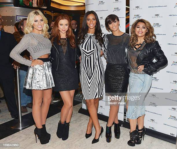 Mollie King Una Healy Rochelle Humes Frankie Sandford and Vanessa White of The Saturdays promote Chasing The Saturdays at the NBC Experience Store on...
