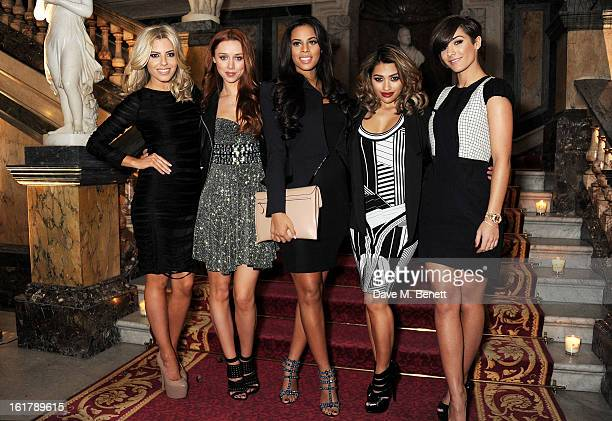 Mollie King Una Healy Rochelle Wiseman Vanessa White and Frankie Sandford of The Saturdays attend the Julien Macdonald show during London Fashion...