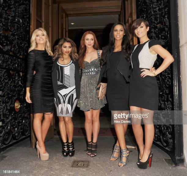 Mollie King Vannessa White Una Healey Rochelle Wiseman and Frankie Sanford of The Saturdays are sighted as they leave the Julien Macdonald Fashion...