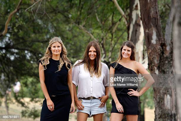 Mollie McClymont Brooke McClymont and Samantha McClymont of The McClymonts pose during a portrait session at the 42nd Tamworth Country Music Festival...
