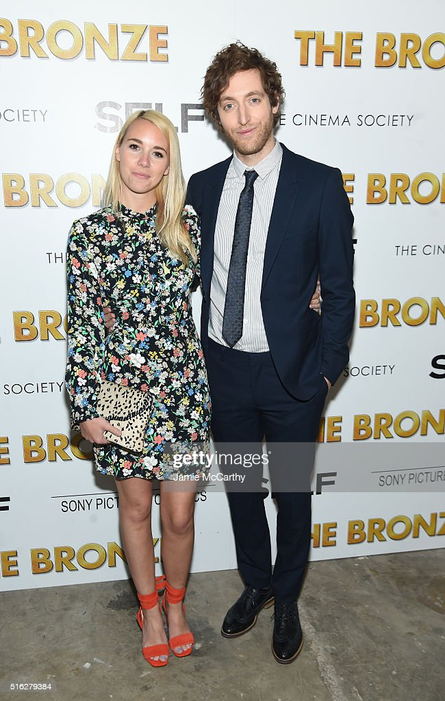 Mollie Middleditch and Thomas Middleditch attend a screening of Sony Pictures Classics' 'The Bronze' hosted by Cinema Society & SELF at Metrograph on March 17, 2016 in New York City.