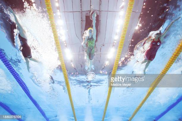 Mollie O'Callaghan of Team Australia competes in heat two of the Women's 4 x 100m Freestyle Relay on day one of the Tokyo 2020 Olympic Games at Tokyo...