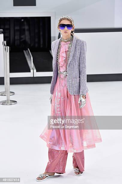 Molly Bair walks the runway during the Chanel show as part of the Paris Fashion Week Womenswear Spring/Summer 2016 on October 6 2015 in Paris France