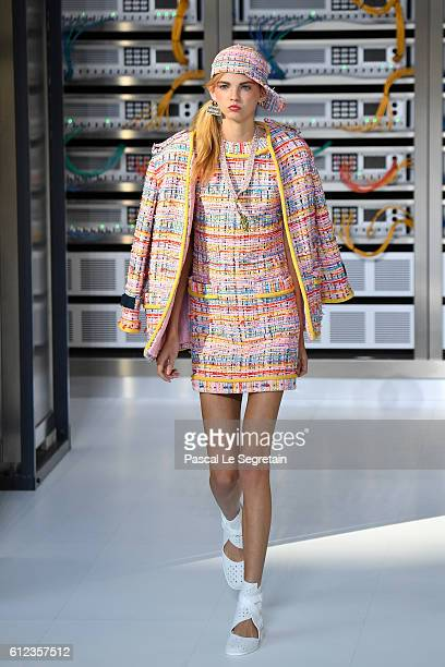 Molly Bair walks the runway during the Chanel show as part of the Paris Fashion Week Womenswear Spring/Summer 2017 on October 4 2016 in Paris France