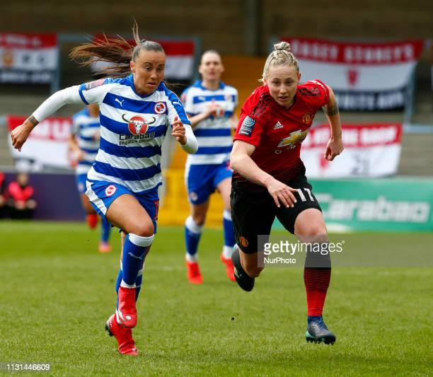 LR Molly Bartrip of Reading FC Women and Leah Galton of Manchester United Women during The SSE Womens FA Cup Quarter Final match between Reading FC...