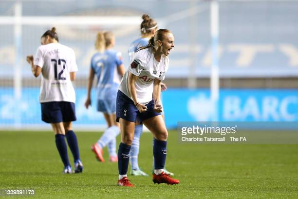 Molly Bartrip of Tottenham Hotspur celebrates their side's victory after the Barclays FA Women's Super League match between Manchester City Women and...