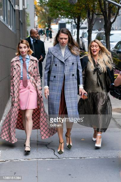 """Molly Bernard, Sutton Foster and Hilary Duff are seen filming a scene for """"Younger"""" in the Upper West Side on November 11, 2020 in New York City."""