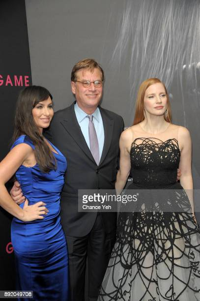 Molly Bloom Aaron Sorkin and Jessica Chastain attend 'Molly's Game' New York premiere at AMC Loews Lincoln Square on December 13 2017 in New York City