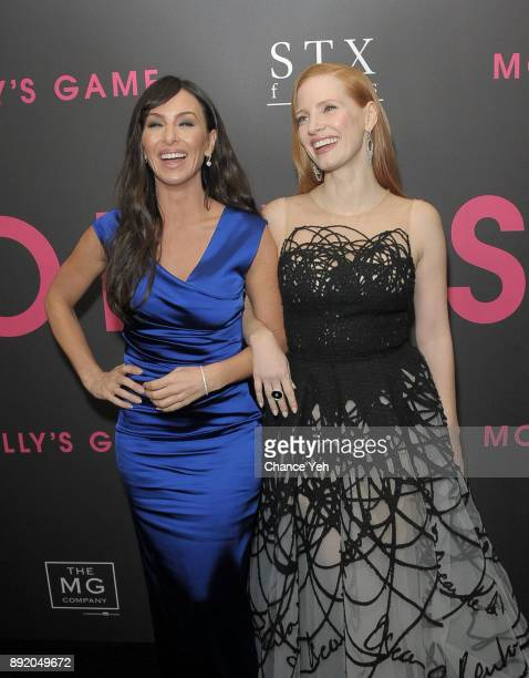 Molly Bloom and Jessica Chastain attend 'Molly's Game' New York premiere at AMC Loews Lincoln Square on December 13 2017 in New York City