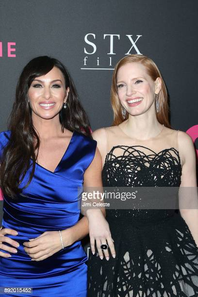 Molly Bloom and Jessica Chastain attend the New York premiere of 'Molly's Game' at AMC Loews Lincoln Square on December 13 2017 in New York City
