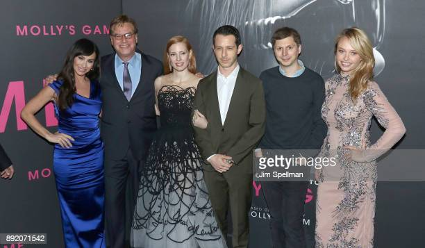Molly Bloom writer/director Aaron Sorkin actors Jessica Chastain Jeremy Strong Michael Cera and Madison McKinley attend the 'Molly's Game' New York...